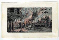 "WW1 WOVEN SILK POSTCARD "" ARRAS "" E. DEFFRENE FLAMES SERIES VINTAGE 1915"