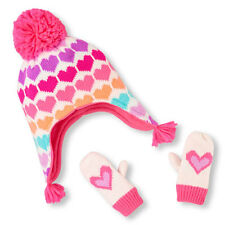 Toddler Girls Neon Heart Print Hat And Mittens Set size S (12-24MOS)