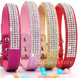Rhinestone Dog Collar Small Pet Collars Chihuahua Cat Crystal Necklace Size S M