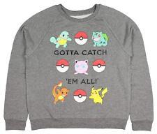 NEW Retro Pokemon Pikachu Squirtle Women's Size S Graphic Crew Neck Sweater Gray