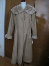 Adarcrea S L Women's Beige Sheep Fur Long A Line Winter Coat 10 NWT fits 12-14