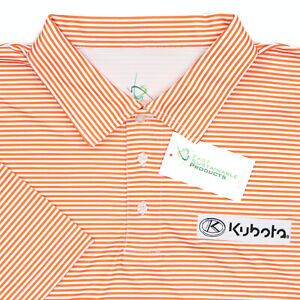 "FSP Kubota Men Medium 44"" Polo Shirt Orange White Stripe Polyester"