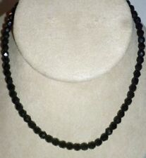 """Vintage Black Glass Small Bead Necklace Choker 15"""""""