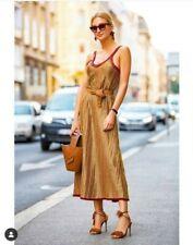 Zara Midi Flowing Knit Dress Red Gold Limited Edition S M L