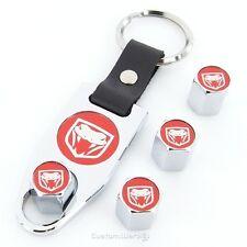 Dodge Viper New Red Logo Chrome  Tire Valve Caps + Wrench Keychain