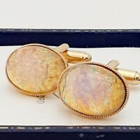 Vintage 1950s CZECH Milky Pink Gold Fire Glass Opal - Oval Gold Plated Cufflinks