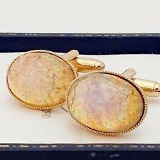 Glass Opal - Oval Gold Plated Cufflinks Vintage 1950s Czech Milky Pink Gold Fire