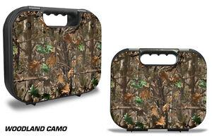 Skin Decal Wrap for Glock 18 19 21 22 43 9mm 45 Pistol Gun Hard Case WOOD CAMO