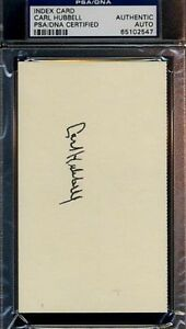 Carl Hubbell Signed Psa/dna 3x5 Index Card Certified Autograph Authentic