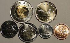 Uncirculated Canada 2008 6 coin set: $2, $1, 25c, 10c, 5c, 1c