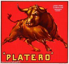 Espana Spanish Spain Platero Bull Orange Citrus Fruit Crate Label Print