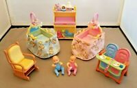 Fisher Price Dollhouse Twins Lot Babies Cribs Musical Light Changing Table Chair