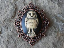 SPOOKY BARN OWL HAND PAINTED CAMEO COPPER PENDANT - GOTH - HALLOWEEN