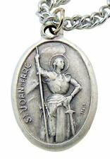 """St. Joan of Arc Patron Saint Metal 3/4"""" Italy Medal w/ Chain Pendant Necklace"""