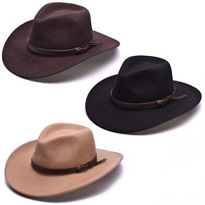 Cowboy Hat 100% Wool Crushable Stetson Western Style Outback Fedora 8cm Brim
