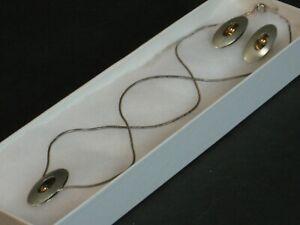 VTG Ed Levin Sterling & 14K Gold Modernist 3D Necklace & Earring Set Signed MCM!