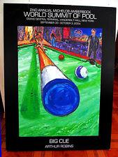 ORIGINAL POOL PRINT Arthur Robins NYC Art Billiards PoolRoom Cue Stick 8 Ball NR