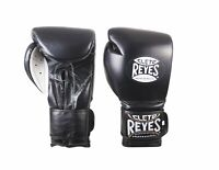 Cleto Reyes Hook and Loop Leather Training Boxing Gloves - Black