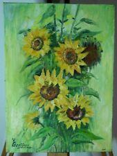 Y GEOFFROY, bouquet de tournesols, huile sur toile
