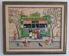 "Charlotte Julian - "" Le bistro des artistes "" - Art Naïf - Oeuvre originale -"