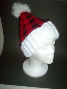 """Hand crochet hat, fuzzy tassel, 16"""" to 18"""" head"""
