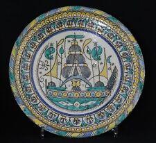antique 18th C Mokhfia, ceramic plate dish, Fès Morocco, RARE decor Sailing Ship