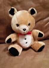 Tuxedo Teddy Bear stuffed animal brown,white,black velvet paws,ears red bow tie