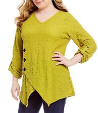 NWT Ali Miles $74 Textured CITRON/GOLD Tunic Top Black Button Detail 1X Stretch