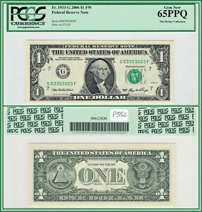 2006 Binary $1 Chicago Federal Reserve Note PCGS 65 PPQ Gem New Uncirculated FRN