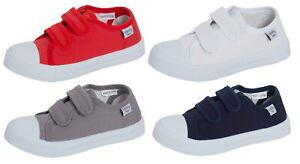 Kids Canvas Pumps Boys Trainers Girls Plimsolls Unisex Easy Fasten Casual Shoes