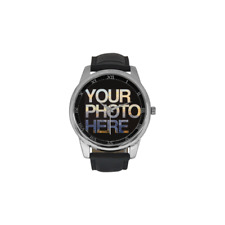 Silver Leather Custom Printed Watch Add Photo Picture Personalised Unique Design