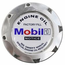 Engine Oil Fuel Filler Billet Cap Tank Cover Aluminum Silver White Mobil Emblem