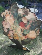 beautiful vintage wood floral Painting fireplace screen? stand-alone Flowers