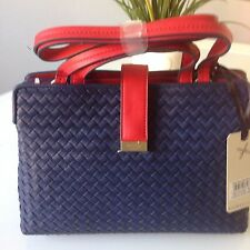 BNWT £65 NEW FIORELLI DYLAN NAVY RED WEAVE SHOULDER GRAB BAG DOUBLE COMPARTMENT