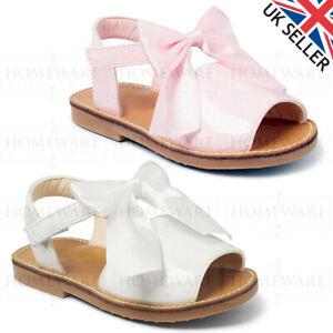 GIRLS BABY SPANISH BOW SANDALS SHINY PATENT MENORCAN STYLE WHITE PINK NEW UK