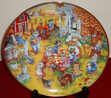 Bill Bell A Purrfect Feast Franklin Mint collector's Plate w/Thanksgiving Cats