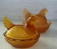 Hen On Nest 2 Westmoreland L.E. Smith Glass Dish Vintage