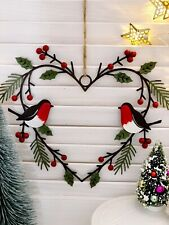 Metal Robin Heart Hanging Holly Wreath Traditional Vintage Christmas Decoration
