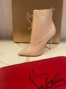 Christian Louboutin EPIC 100 Patent Leather Metal Heel Booties Ankle Boots $1395
