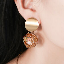 Women Hollow Gold Plated Round Pearl Cage Dangle Drop Earrings Ear Stud Jewelry