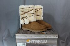 WOMENS MAKALU FAUX FUR AND TAN SUEDE WINTER BOOTS SIZE 7
