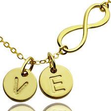 Infinity Initialen Anhänger Kette Gold vergoldet Unendlichkeit Halskette Gravur