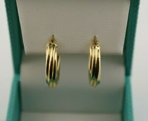 18K Yellow Gold Hollow Twisted Hoop Earrings Snap Post
