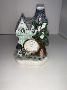 Vintage E.K.O. ENGLISH COUNTRY COTTAGE Stoneware House Miniature Desk Clock