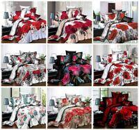 3D Effect Floral Image Duvet Set Complete Bedding Set Fitted Sheet Pillowcase