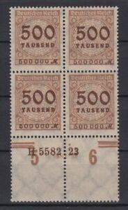 Deutsches Reich 313 AP mit Unterrand 4er Block + HAN Ziffern 500 Tsd M ** /1
