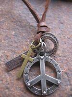 Peace Halskette Anhänger Hippie Surfer Style Leder Ring Kreuz braun neu Kette