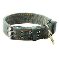 Pet Dog Double-Breasted Necklace For Big Dog Collar Leads Army Green Pet #JT1