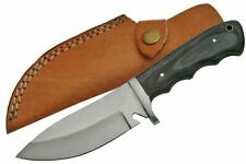 """FIXED-BLADE HUNTING KNIFE Rite Edge 9"""" Black Wood Skinner Blade + Leather Sheath"""