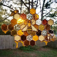Bee and Honeycomb Windchime Suncatcher Gardens Window Conservatory Decor